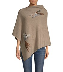bird embroidered poncho