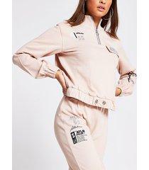 river island womens pink 'atlr' half zip sweatshirt