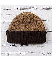 100% alpaca hat, 'warm braids in tan' (peru)