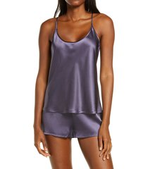 women's la perla silk short pajamas, size x-large - purple