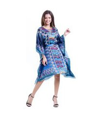 kaftan 101 resort wear vestido crepe plus size estampado azul