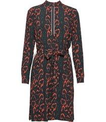 prt belted ls placket dress knälång klänning multi/mönstrad calvin klein