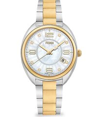 momento two-tone stainless steel, mother-of-pearl & diamond bracelet watch