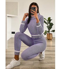 tall stripe sweater & leggings lounge set, lavender