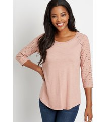 maurices womens 24/7 solid eyelet baseball tee pink