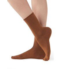 calzedonia short cotton socks with comfort cut cuffs woman brown size 39-41