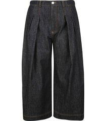j.w. anderson pleated cropped denim trousers