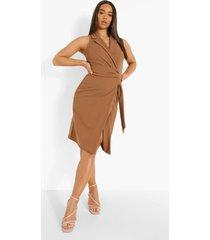 mouwloze blazer jurk met ceintuur, camel