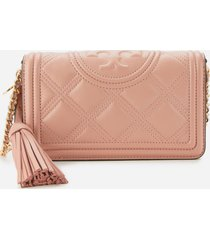 tory burch women's fleming soft wallet cross body bag - pink moon