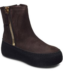 winter shoes boots ankle boots ankle boot - flat brun nude of scandinavia