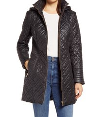 women's via spiga quilted hooded coat, size x-large - black