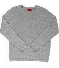 suéter cerrado cuello redondo en tono gris jaspe para joven 00393