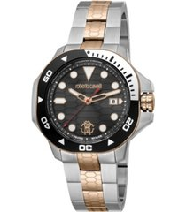 roberto cavalli by franck muller men's swiss quartz two-tone stainless steel bracelet watch 44mm