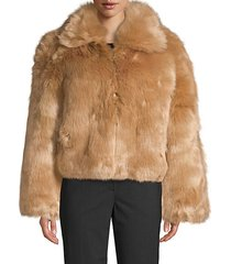 oversized collar faux fur jacket