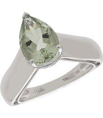 hueb women's apus 18k white gold, green amethyst & diamond triangle ring - size 7