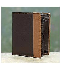 men's leather wallet, 'symphony in chocolate and sepia' (india)