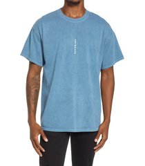 men's topman oversize vertical anywhere cotton graphic tee, size small - blue