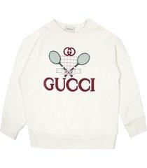 gucci white felted cotton jersey sweatshirt