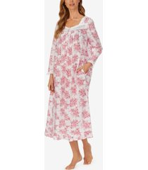 eileen west floral-print long-sleeve cotton ballet nightgown