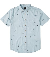 billabong sundays mini short sleeve button-down shirt, size small in sky blue at nordstrom