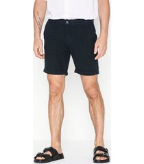 selected homme slhstraight-paris linen shorts w shorts mörk blå