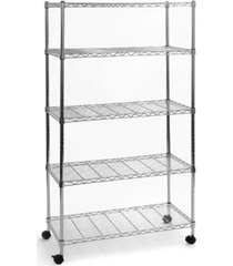 seville classics 5 tier ultrazinc steel wire shelving w wheels