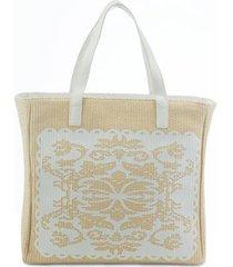 bolsa de praia manly em palha arabescos feminina