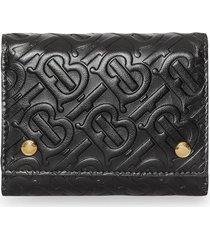 burberry small monogram leather folding wallet - black