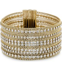 swarovski gold-tone ball-chain & crystal wide flex bracelet