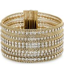 swarovski gold-tone ball-chain & crystal wide flex bracelet