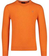 oranje trui gant ronde hals lamswol