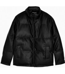 mens black faux leather puffer jacket