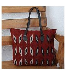 leather accent zapotec wool tote, 'heartland' (mexico)