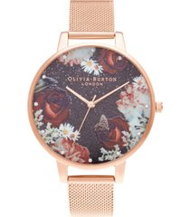 olivia burton women's winter blooms rose gold-tone mesh bracelet watch 38mm