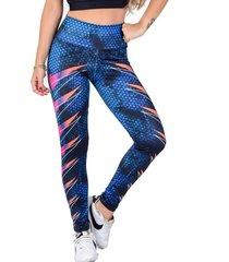 calça legging vip lingerie sublimada speed azul - tricae
