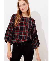 loft plaid button back balloon sleeve blouse