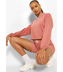 elastische korte trui met halve rits, blush
