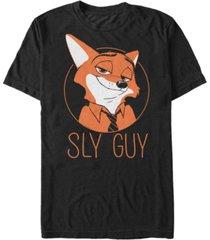 disney men's zootopia nick wilde sly guy fox, short sleeve t-shirt
