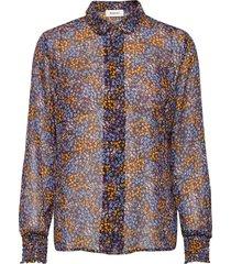 flame print shirt blus långärmad blå modström