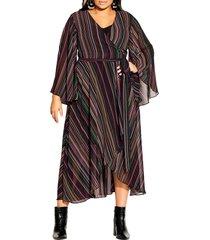 plus size women's city chic stripe long sleeve wrap dress, size x-small - black