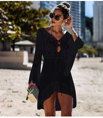 vestido de playa/beach cover up bikini de punto ganchillo-negro