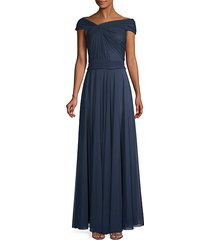 ruched off-the-shoulder mesh gown