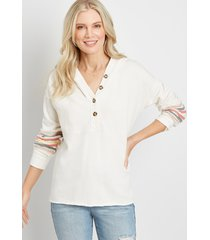 maurices womens white rainbow sleeve button front hoodie