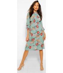 bloemenprint midi jurk met hoge kraag en opgestroopte middel, blauwgroen