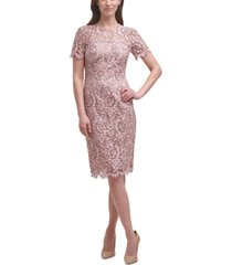 eliza j lace midi sheath dress