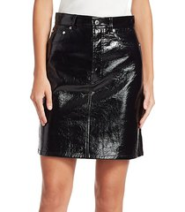 patent leather high-waist mini skirt