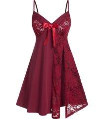plus size lace sheer slit cami lingerie babydoll set