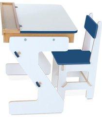 mesa versátil azul em mdf com 4 peças - cx. papelão - carlu - kanui