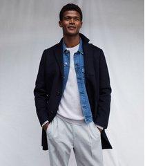 reiss gable - wool-blend epsom overcoat in navy, mens, size xxl