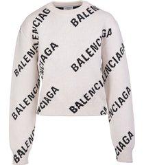 balenciaga woman light beige and black allover logo round-neck pullover